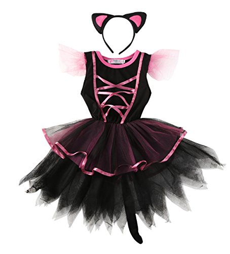 Girls Party Costume Toddler Kids Christmas Dress Up Headband Cosplay Outfits (2-3Y, black) (Pink Leopard Infant Costume)