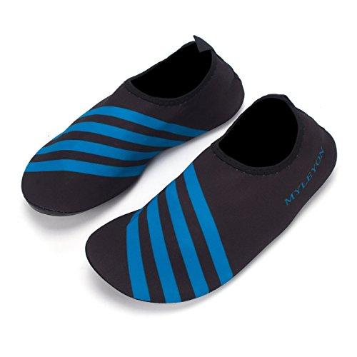 DODOING Water Shoes Mens Womens Quick Dry Sports Aqua Shoes Unisex Swim Shoes For Swim,Walking,Yoga,Lake,Beach,Garden,Park,Driving,Boating Black/Blue