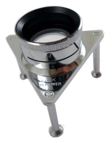 Triangular Chrome Plated Brass Tripod Magnifier With 10X Power - Plated Brass Magnifier