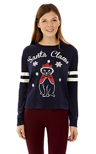 WallFlower Women's Holiday Critter Pullover With Embellishment, Navy, (Critters Wall)