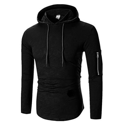 (Sunhusing Men Long Sleeve T-Shirt Striped Round Neck Zip-Fitting T-Shirt Hooded Blouse Black)