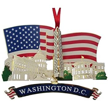 Amazon.com: American Flag Christmas Ornament with Washington DC ...