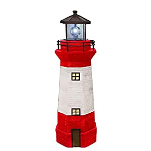 Hongville Large Landscape Spotlights Garden Decor Solar Powered LED Lighthouse with Revolving Beacon (Red)