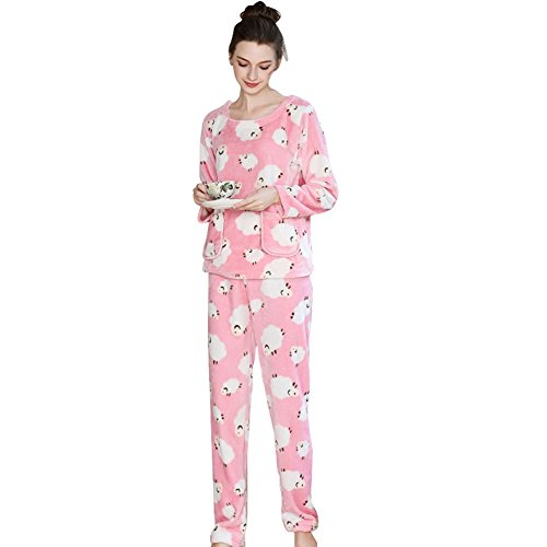 Depaud Womens Floral Fuzzy Flannel Loungewear Pajamas Set with Pant Pink XL