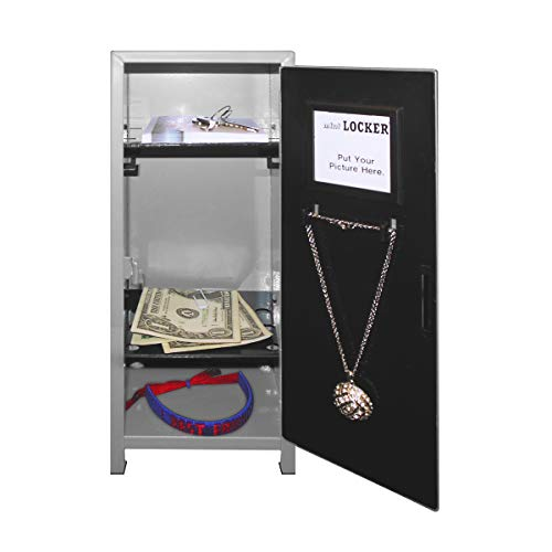 Mini Locker with Lock and Key Silver -10.75″ Tall