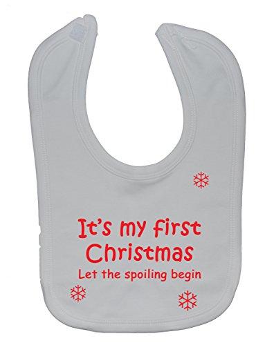 Attaché Christmas Abîmer Velcro Blanc Bavoir My Let nbsp;à First Begin The nbsp;ans 3 0 It's Environ H1Uqzww