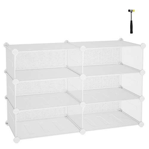 "(SONGMICS 3-Tier Shoe Rack, Space Saving 12-Pair Metal Shoe Storage Organizer Units, Cabinet Storage Organizer, Ideal for Entryway Hallway Bathroom Living Room, 34.3""L x 12.6""W x 21.3""H White ULPL23W)"