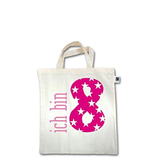 Geburtstag Kind - Ich bin 8 Rosa Mädchen - Unisize - Natural - XT500 - Fairtrade Henkeltasche / Jutebeutel mit kurzen Henkeln aus Bio-Baumwolle