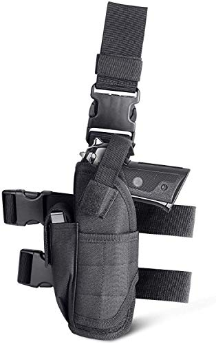 CISNO Tactical Drop Leg Holster, Adjustable Thigh Pistol Gun Holster for Left/Right Handed, Case Bag Pouch for Hunting
