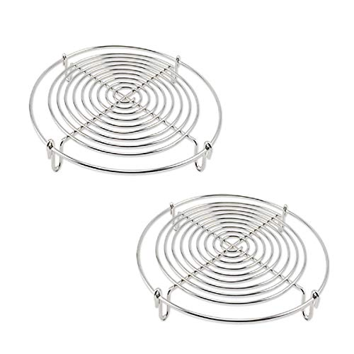- Round Steamer Rack and Cooling Rack,Wire Steamer Kettle Rack Holder Fit For All Pots Pans Up,Stainless Steel For Cooking 5-Inches (2)