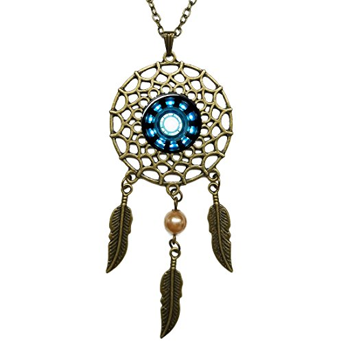 Hanging Reactor (Women's Feather Tassel Necklace Tribal Style Sweater Chain Dreamcatcher Necklace Gothic Arc Reactor Image Glass Cabochon Pendant)