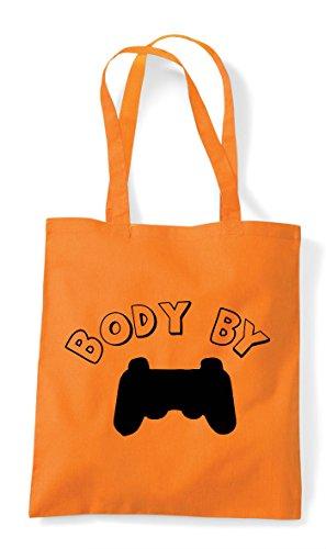 Orange Controller Gaming Shopper By Body Bag Plain Statement Tote q8afvw