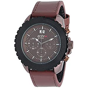 Westar Act Men's Brown Mother of Pearl Dial Leather Band Watch - 90057ZBN120