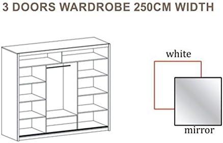 Puerta corredera de gran armario con espejo 250 cm, ancho VISTA blanco por DAKO: Amazon.es: Hogar