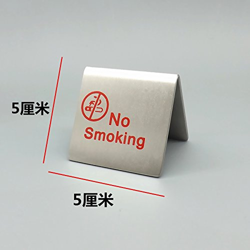 staurant Double Side Stainless Steel No Smoking Tent Sign ()