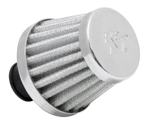 K&N 62-1600WT Vent Air Filter / Breather: Vent Air Filter/ Breather; 0.375 in/0.5 in (10 mm/13 mm) Flange ID; 1.75 in (44 mm) Height; 2 in (51 mm) Base; 1.5 (Crankcase Breather Filter)