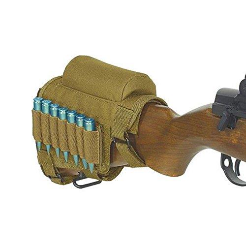 Butt Pack Khaki - JUFENG Rifle Buttstock, Adjustable Tactical Buttstock Shell Holder Cheek Rest Pouch Holder Pack with 7 Shells Holder(Khaki)