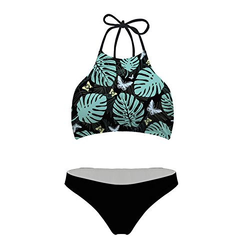 Womens Vintage Halter Swimsuit Tops Butterfly Leaf Bathing Suit Printed Bikinis,M