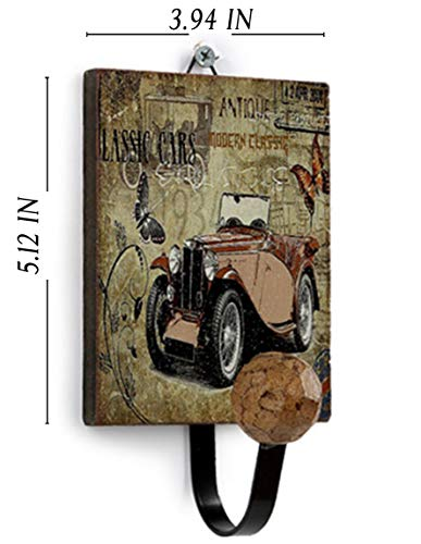 (Blue Dan Large Rustic Coat Hanger Wooden Antique Wall Hooks Vintage Style Clothes Hanging Hook Souvenir Multi Use Entryway for Coats Bags Hats Clothes Towels (Classic Car 14))