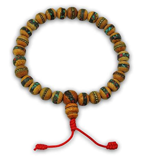 Tibetan Mala Embedded Medicine Wrist Mala for Meditation Handmade Draw String Silk Pouch (Wood Guru ()