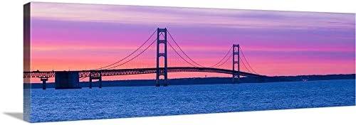Silhouette of a Suspension Bridge at Sunset Mackinac Bridge Michigan Canvas Wall Art Print