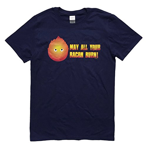 Nani?Wear Anime Calcifer Moving Castle Geek T-Shirt May All Your Bacon Burn Medium