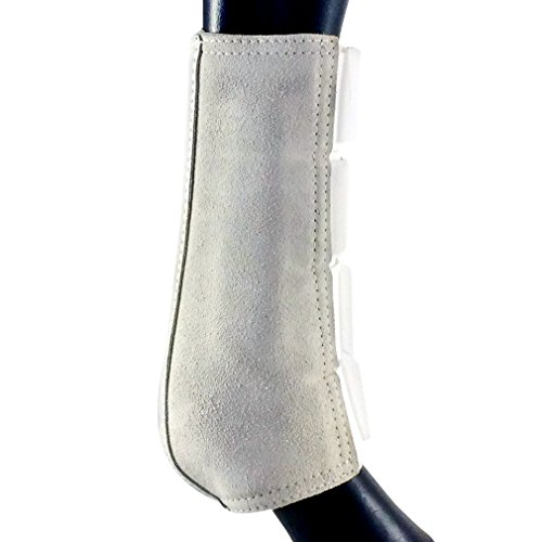 Bar_F Split Leather Double Lock Splint/Galloping/Brushing Boots - Pair - Front (White, Medium) (Double Lock Brushing Boot)