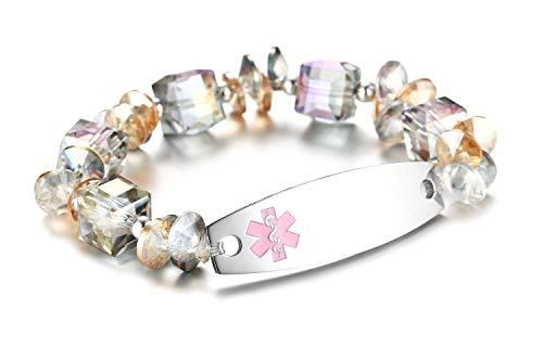 JF.JEWELRY Medical Alert ID Bracelet for Women with Clear Crystal Glass Beads Custom Engraving