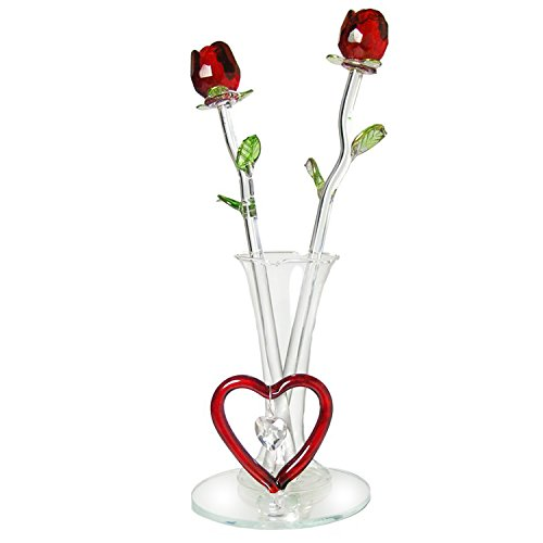 Forever Glass Rose Flowers in Vase with Red Heart & Hanging Crystal Heart Charm on Mirrored Base for Mother's Day Valentine's Day Birthday Wedding Anniversary Decor for Women Girlfriend Mom (Red Glass Heart Ornaments)