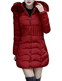 Plus Size, Fashion Winter Long Down Jacket Warm Cotton Slim Zip Coat with Fur Hood
