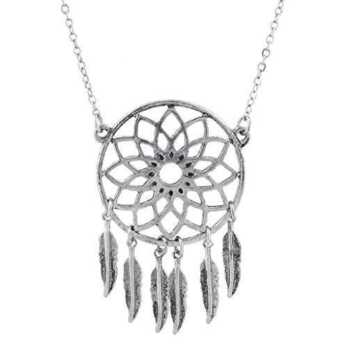 Lux Accessories Burnished Silver Tone Casted Dream Catcher Feather Leaf Necklace