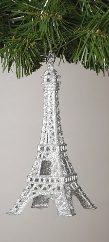 Silver Eiffel Tower Christmas Ornament