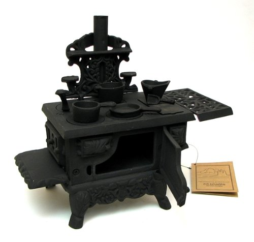 Decorative Wood Stove Black Mini Collectible Statue Home Cafe Ornament Vintage Cooking Display Burning Fired Outdoor Kitchen Sculpture Ornament