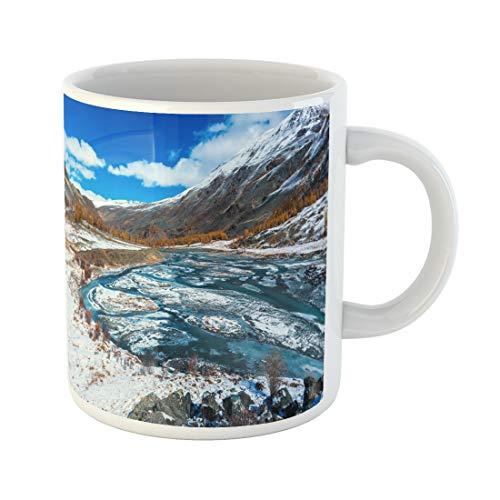 Semtomn Funny Coffee Mug Green Clouds Mountain River Valley Winter Snow Landscape Edge 11 Oz Ceramic Coffee Mugs Tea Cup Best Gift Or Souvenir