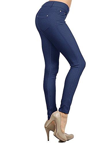Enimay Women's Colored Jean Look Jeggings Tights Spandex Leggings Yoga Pants Dark Blue Medium (Back Spandex)