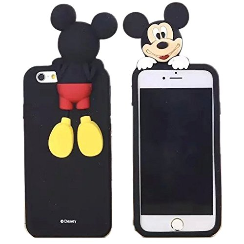 Soft Silicone 3D Cartoon Black Mickey Mouse Doll Case for iPhone 5 5s SE iPhone5 5G Flexible Rubberized Shockproof Protective Cute Lovely Fashion Cool Classic Classy Gift for Teens Little Girls Women