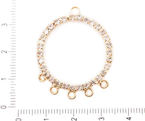 (2pcs Gold Color Plated Chandelier Earring Pendant Donut 6 Six Holes Loops Crystal CZ Micro Pave Cubic Zirconia Rhinestones Component)