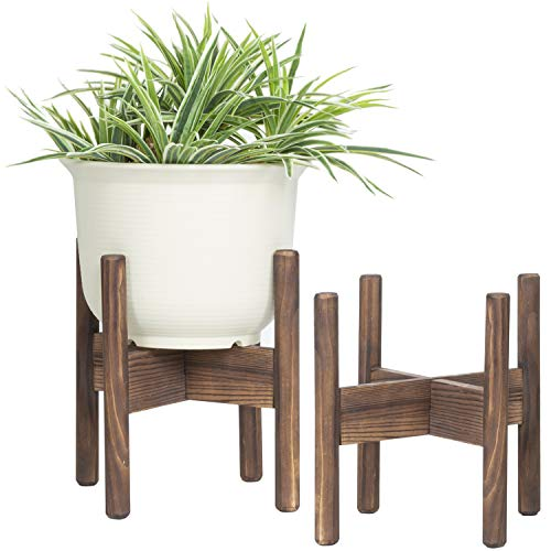 MyGift 10-Inch Dark Brown Wood Plant Stands, Set of 2 (Elevated Plant Stand)