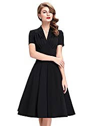 Vintage Dress 50s Style for Women Short Sleeve Size S BP199-3