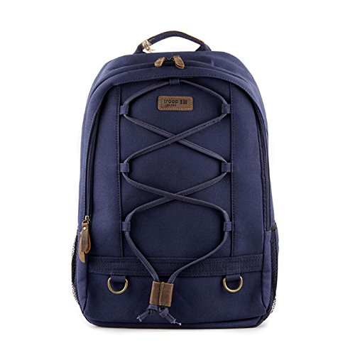 new-troop-london-k-612-unisex-casual-backpack-canvas-fabric-leather-travel-bag