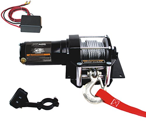 Winch (3000lb ATV with Mini-Rocker Switch, Mounting Channel, Roller Fairlead, 40 ft. Wire Rope) (Dog Atv)