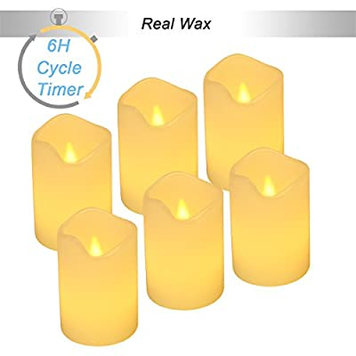 "?6-Hour Cycle Timer? Flickering Real Wax Flameless Candles - Battery Operated Votive Candles - 6 Pack Amber Yellow Flame - Dia.2""x3""H'"