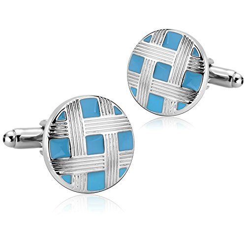 Aooaz Cufflinks for Men Stainless Steel Silver Blue Round Button Cover Shirt 1.8X1.8CM Silver Blue (Sterling Silver Button Covers)