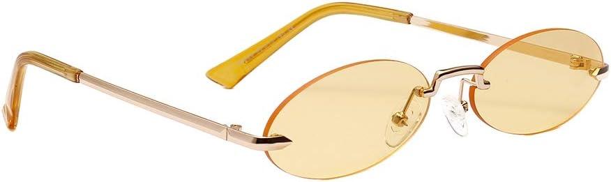 Luxsea Vintage Sunglasses for Women Small Face Round Borderless Clear Casual Colored Lens Festival Fashion Sunglasses