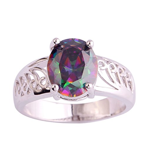Veunora White Gold Plated Oval Cut Rainbow Topaz Promise Ring for Women Anniversary Gift (Bypass Flower)