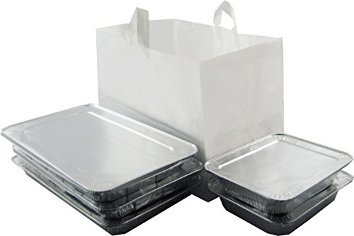 - ZT Packaging Take Out Bag, Medium - 14 x 11.5 x 12, Half Tray Catering Bags with Durable Soft Loop Handles and Cardboard Bottom, White Plastic Shopping Bags; 200 Bags per case