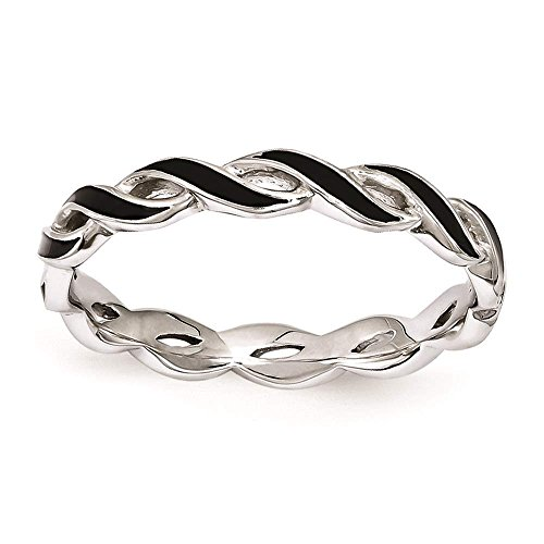 925 Sterling Silver Rhodium-plated Polished Black Enamel Twisted Ring by Stackable Expressions Size (Silver Plated Twisted Ring)