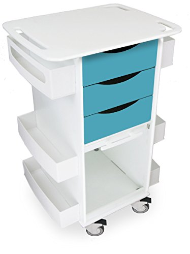 "TrippNT 51171 Polyethylene Locking Medical Cart with Clear PETG Door, 23"" Width, 35"" Height x 19"" Depth, Bahamas Sea Teal and White by TrippNT"