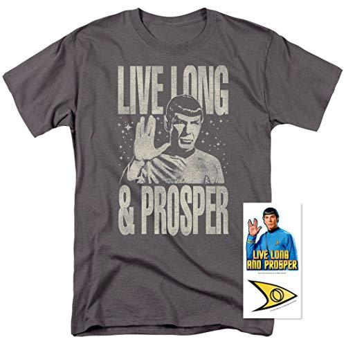 Popfunk Star Trek Live Long & Prosper T Shirt & Stickers (XXXXX-Large) Charcoal