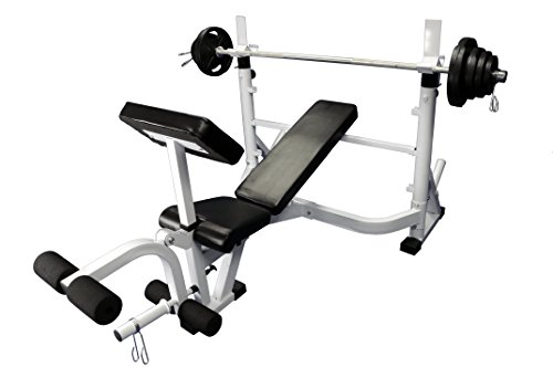 Heavy Duty Olympic Universal White Bench w/ 300 Lbs Weight Grey Olympic Set by Ader Sporting Goods